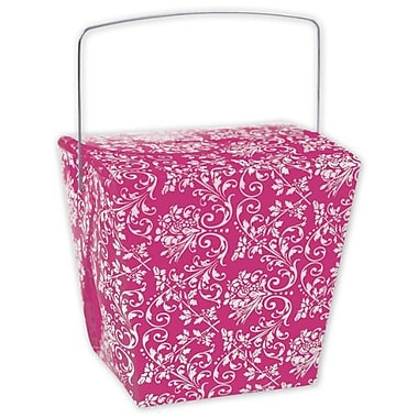 4in. x 3 1/2in. x 4in. Damask Event Boxes, Hot Pink