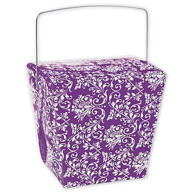 4in. x 3 1/2in. x 4in. Damask Event Boxes, Purple