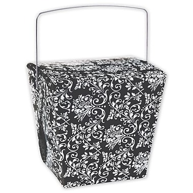 4in. x 3 1/2in. x 4in. Damask Event Boxes, Black