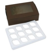 14 x 10 x 4 12 Cup Windowed Standard Cupcake Boxes, Chocolate