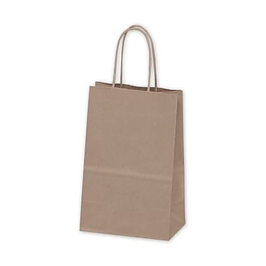 5 1/4in. x 3 1/2in. x 8 1/4in. Recycled Mini Cub Paper Shoppers, Kraft