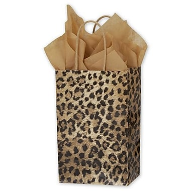 5 1/4in. x 3 1/2in. x 8 1/4in. Leopard Printed Shoppers, Yellow/Brown/Black