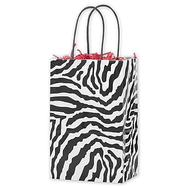 5 1/4in. x 3 1/2in. x 8 1/4in. Zebra Printed Mini Cub Shoppers, Black/White