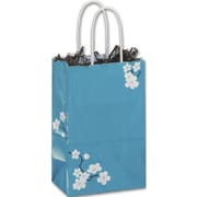 "Paper 8.25""H x 5.25""W x 3.5""D Blooming Beauty Shopper Bags, Blue/White, 100/Pack"