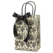 "5 1/4"" x 3 1/2"" x 8 1/4"" Onyx Damask Shoppers, Ivory/Black"