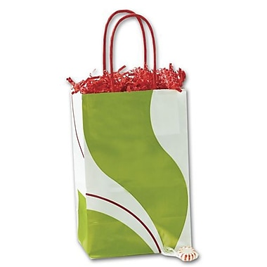 5 1/4in. x 3 1/2in. x 8 1/4in. Mint Twist Shoppers, White
