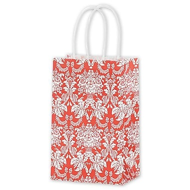 5 1/4in. x 3 1/2in. x 8 1/4in. Tangerine Tango Damask Shoppers, Reddish Orange