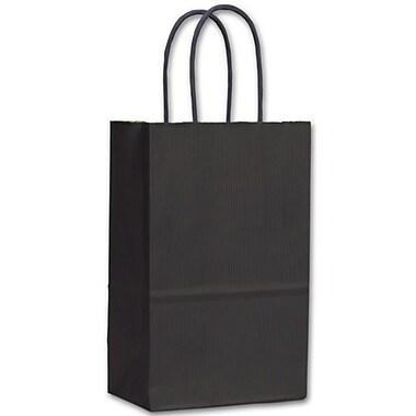 Sacs de magasinage lustrés à bandes, 5 1/4 x 3 1/2 x 8 1/4 po, noir, 250/paquet