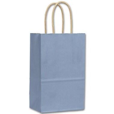 Sacs de magasinage lustrés à bandes, 5 1/4 x 3 1/2 x 8 1/4 po, bleu français, 250/paquet