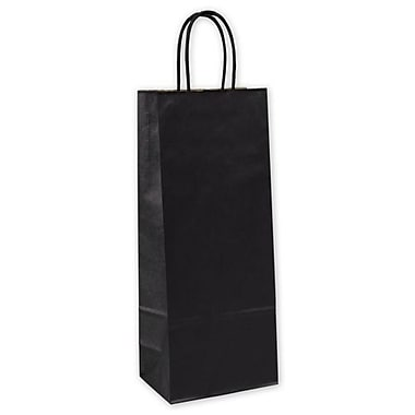 5 1/4in. x 3 1/4in. x 13in. Kraft Wine Bags, Black
