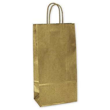 6 1/2in. x 3 1/2in. x 13in. Metallic-on-Kraft Wine Bags, Gold