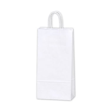 6 1/2in. x 3 1/2in. x 13in. Double Wine Paper Shoppers, White