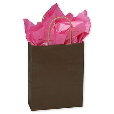 8 1/4in. x 4 3/4in. x 10 1/2in. Color-On-Kraft Shoppers, Chocolate