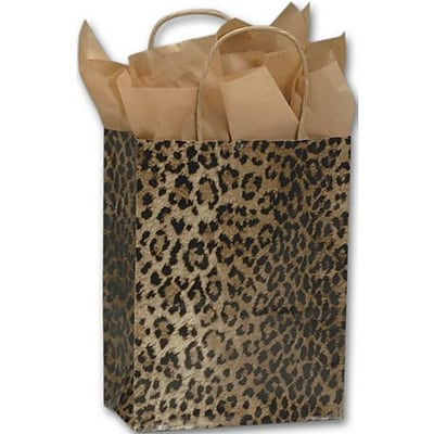 """""""""""8 1/4"""""""""""""""" x 4 1/4"""""""""""""""" x 10 3/4"""""""""""""""" Leopard Printed Shoppers, Yellow/Brown/Black"""""""""""" 79025"""
