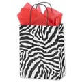 8 1/4in. x 4 1/4in. x 10 3/4in. Zebra Printed Cub Shoppers, Black/White