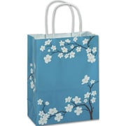 "Paper 10.5""H x 8.25""W x 4.75""D Blooming Beauty Shopper Bags, Blue/White, 100/Pack"
