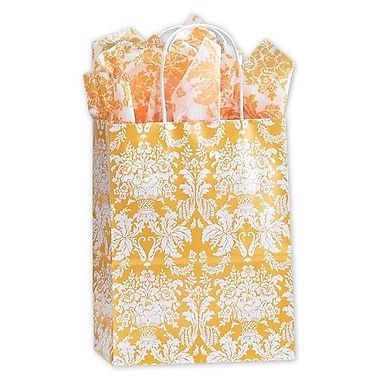 8 1/4in. x 4 3/4in. x 10 1/2in. Damask Mimosa Shoppers, Yellow