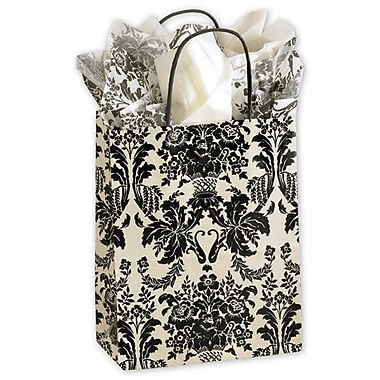 8 1/4in. x 4 3/4in. x 10 1/2in. Onyx Damask Cub Shoppers, Ivory/Black