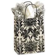 "Paper 10.5""H x 8.25""W x 4.75""D Onyx Damask Cub Shopper Bags, Ivory/Black, 250/Pack"