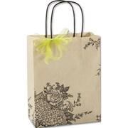 """Paper 10.5""""H x 8.25""""W x 4.75""""D Mini Rose Hydrangea Shopper Bags, Brown, 100/Pack"""