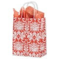 8 1/4in. x 4 3/4in. x 10 1/2in. Tangerine Tango Damask Shoppers, Reddish Orange