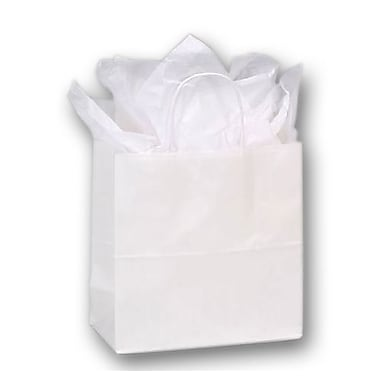 10in. x 5in. x 10 1/2in. Emerald Paper Shoppers, White