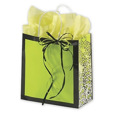 10in. x 5in. x 10 1/2in. Leopard Gone Wild Shoppers, Lime