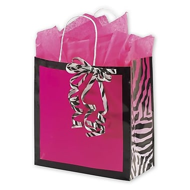 10in. x 5in. x 10 1/2in. Zebra Gone Wild Shoppers, Pink