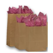 Kraft Paper Shopper Bags, Brown, 100/Pack