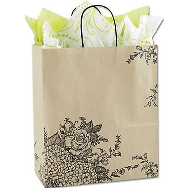 13in. x 6in. x 15 1/2in. Rose Hydrangea Mini Shoppers, Kraft