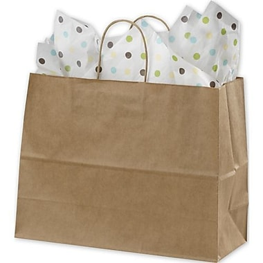 16in. x 6in. x 12 1/2in. Varnish Stripe Shoppers, Kraft