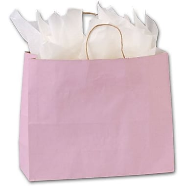 16in. x 6in. x 12 1/2in. Varnish Stripe Shoppers, Light Pink