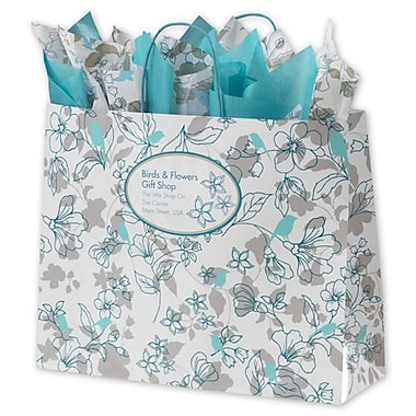 16in. x 6in. x 12 1/2in. Birds and Flowers Paper Shoppers, Aqua & Teal on White