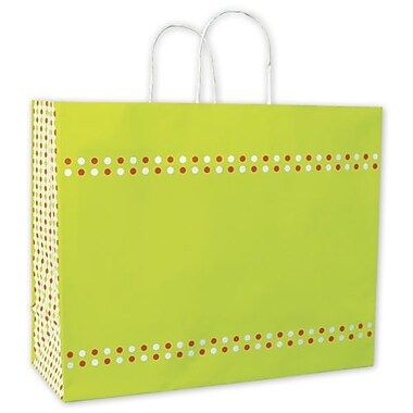 16in. x 6in. x 12 1/2in. Confetti Shoppers, Lime Green