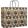 16in. x 6in. x 12 1/2in. Onyx Damask Vogue Shoppers, Black on Ivory