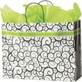 16in. x 6in. x 12 1/2in. Festive Swirls Shoppers, Black