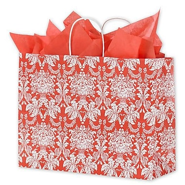 16in. x 6in. x 12 1/2in. Tangerine Tango Damask Shoppers, Reddish Orange