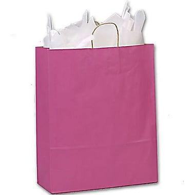 16in. x 6in. x 19in. Varnish Stripe Shoppers, Cerise
