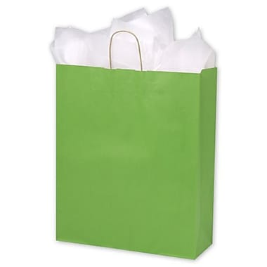 16in. x 6in. x 19in. Varnish Stripe Shoppers, Apple Green