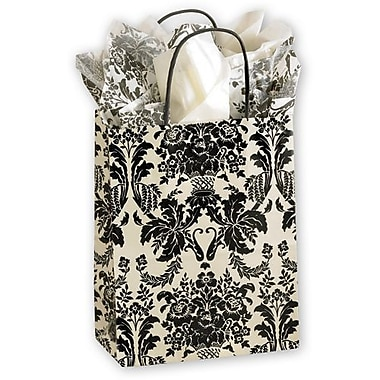 8 1/4in. x 4 3/4in. x 10 1/2in. Onyx Damask Mini Cub Shoppers, Ivory/Black