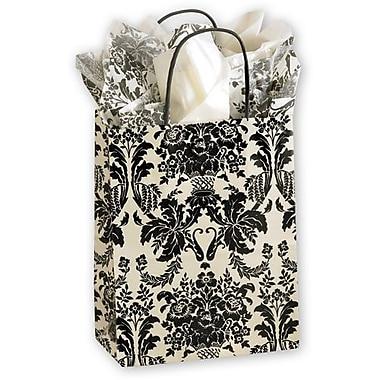 Paper 10.5in.H x 8.25in.W x 4.75in.D Onyx Damask Shopper Bags, Ivory/Black, 25/Pack