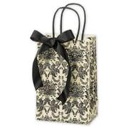 "Paper 8.25""H x 5.25""W x 3.5""D Onyx Shopper Bags, Ivory/Black, 25/Pack"
