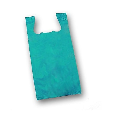 23in. x 11 1/2in. x 7in. Unprinted T-Shirt Bags, Teal