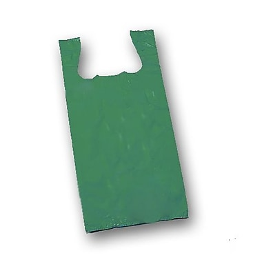 23in. x 11 1/2in. x 7in. Unprinted T-Shirt Bags, Dark Green
