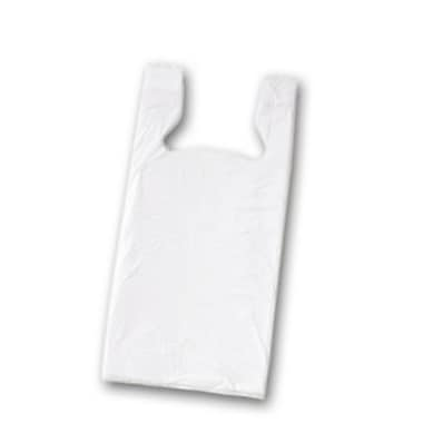 18in. x 11 1/2in. x 8in. Unprinted T-Shirt Bags, White
