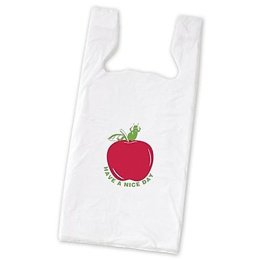 23in. x 11 1/2in. x 7in. Apple Pre-Printed T-Shirt Bags, White