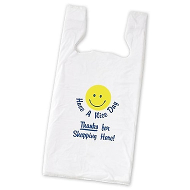23in. x 11 1/2in. x 7in. Smiley Pre-Printed T-Shirt Bags, White