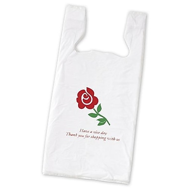 Film 23in.H x 11.5in.W x 7in.D Rose Pre-Printed T-Shirt Bags, White, 1000/Pack