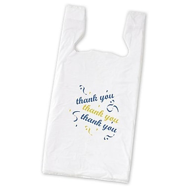 23in. x 11 1/2in. x 7in. Thank You Pre-Printed T-Shirt Bags, White