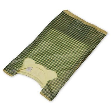 23in. x 11 1/2in. x 7in. Gingham High Density T-Shirt Bags, Green